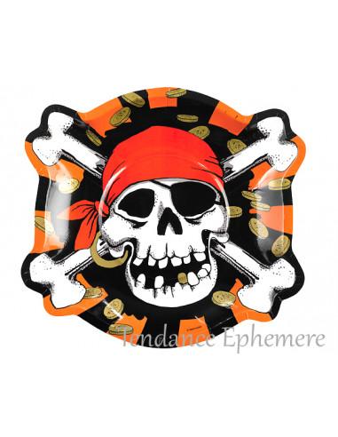 1 Assiette Carton Pirate Tête de Mort 27cm