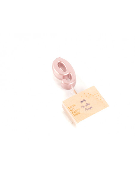 2 Bougie Chiffre 9 Rose Gold 4,2cm