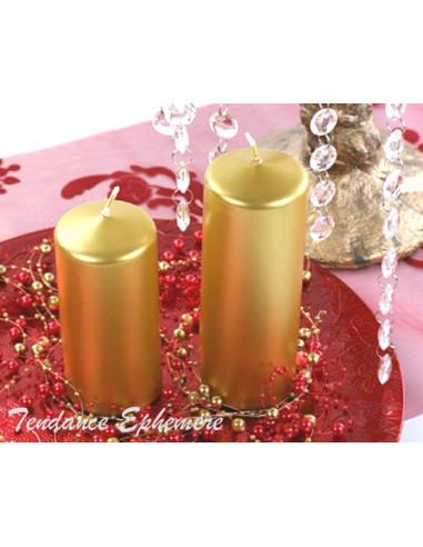 1 Bougie Cylindre Or Métallique 12cm