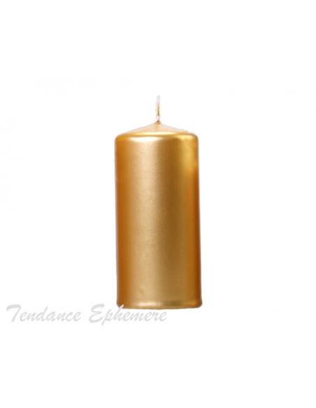 2 Bougie Cylindre Or Métallique 12cm
