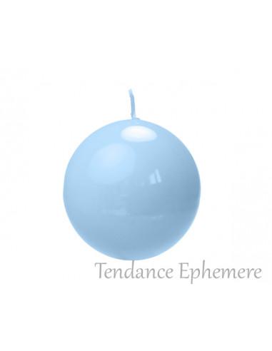 1 Bougie Ronde Bleu Ciel Perlé 8cm