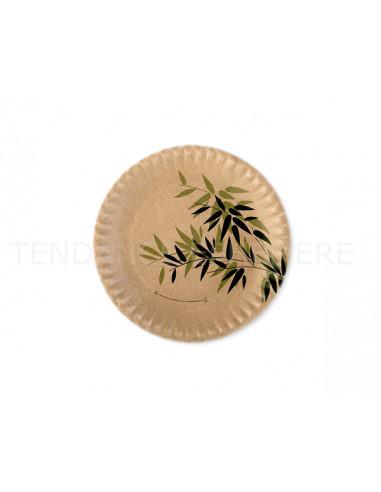 1 Assiette Carton Décor Bambou 18cm -25