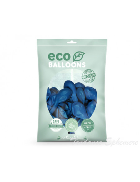 2 100 ballons Latex Biodégradables Bleu 26cm