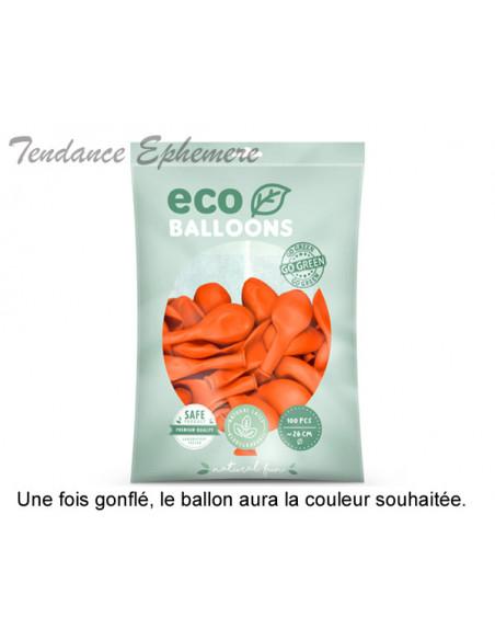 2 100 ballons Latex Biodégradables Orange 26cm
