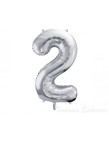 1 Ballon Chiffre 2 Aluminium Argent 86cm