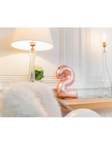 1 Ballon Chiffre 2 Aluminium Rose Gold 36cm