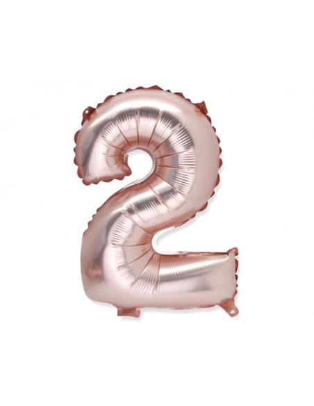 2 Ballon Chiffre 2 Aluminium Rose Gold 36cm