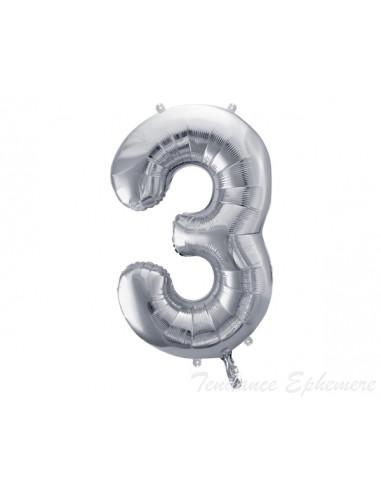 1 Ballon Chiffre 3 Aluminium Argent 86cm
