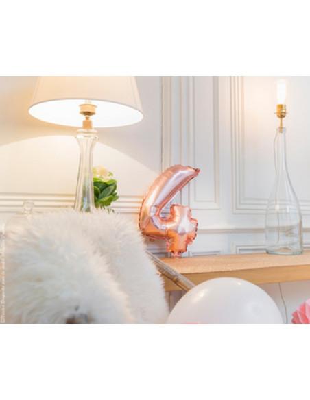 1 Ballon Chiffre 4 Aluminium Rose Gold 36cm