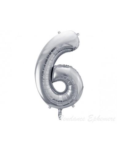 1 Ballon Chiffre 6 Aluminium Argent 86cm