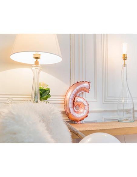 1 Ballon Chiffre 6 Aluminium Rose Gold 36cm