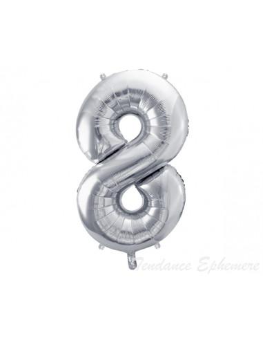 1 Ballon Chiffre 8 Aluminium Argent 86cm