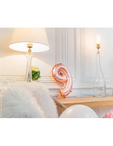 1 Ballon Chiffre 9 Aluminium Rose Gold 36cm