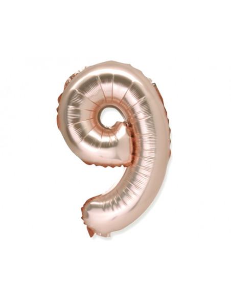 2 Ballon Chiffre 9 Aluminium Rose Gold 36cm