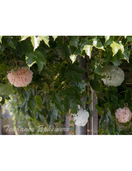 2 Boule de Fleurs Blanches 17cm