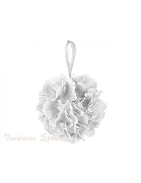 3 Boule de Fleurs Blanches 17cm