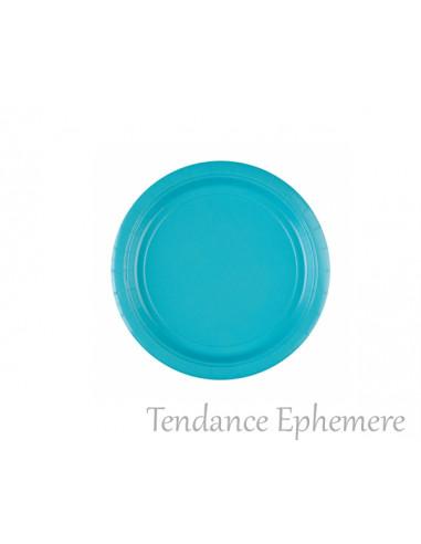 1 Assiette Carton Ronde Turquoise 17,7cm