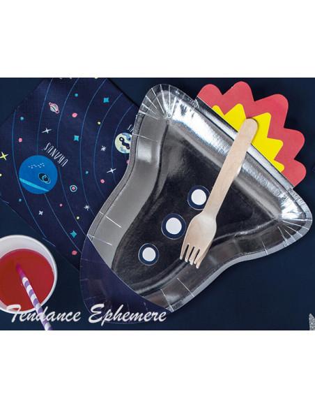 2 Assiette Carton Fusée Astronaute 29,5cm