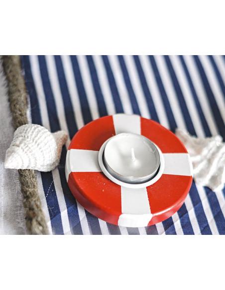 2 Bougeoir Bouée Rouge et Blanc 9cm