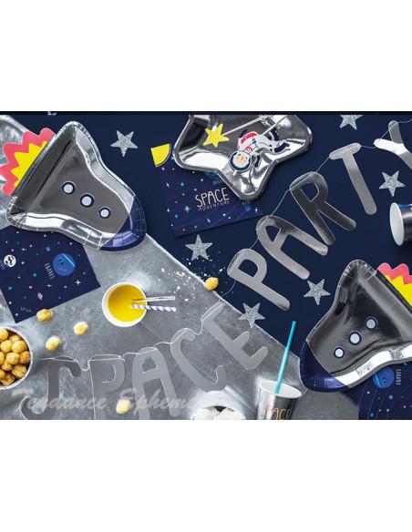 3 Assiette Carton Fusée Astronaute 29,5cm