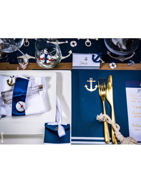 3 Stickers Bouées Marines Bleu et Blanc