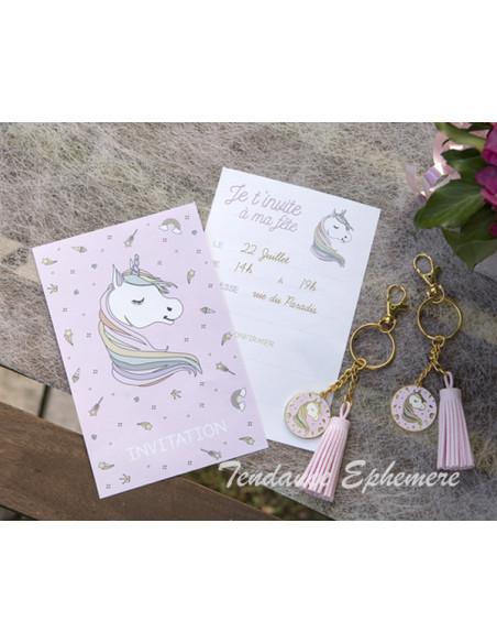 1 Carte Invitation Licorne