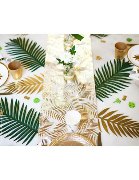 1 Chemin de Table Organza Feuille de Palmier Or 5m