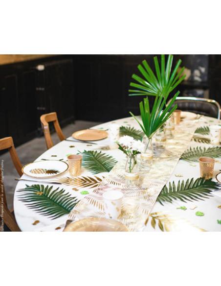 2 Chemin de Table Organza Feuille de Palmier Or 5m