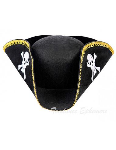 1 Chapeau de Pirate Noir et Or