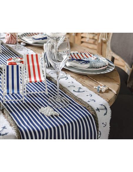 1 Chemin de Table Marine Rayé Bleu Blanc 5m