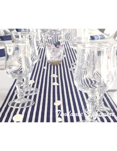 2 Chemin de Table Marine Rayé Bleu Blanc 5m