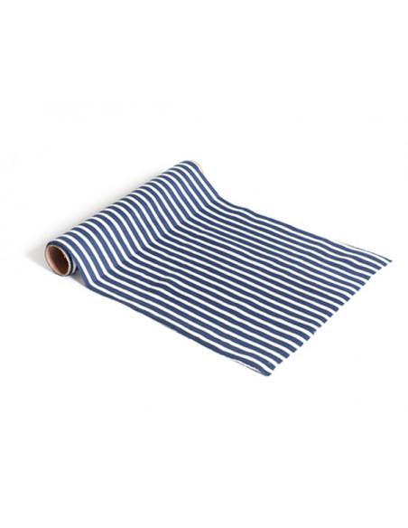 4 Chemin de Table Marine Rayé Bleu Blanc 5m