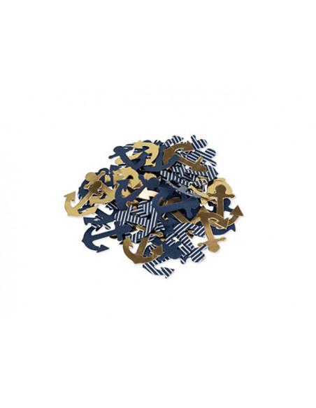 2 100 Confettis Ancre Bleu Or 2,5cm