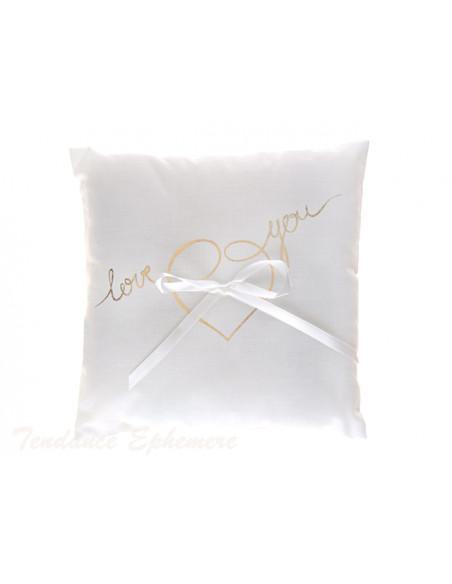 3 Coussin Alliances Blanc Love You Or 18cm