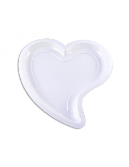 2 Assiette Plastique Coeur Blanche 22cm