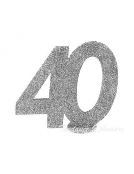 2 Centre de Table 40 Ans Argent Pailleté
