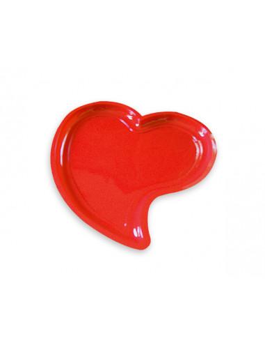 1 Assiette Plastique Coeur Rouge 22cm