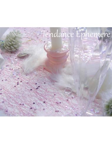 1 Chemin de Table Glitter Vieux Rose 5m