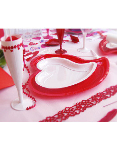 1 Assiette Plastique Coeur Rouge 31cm