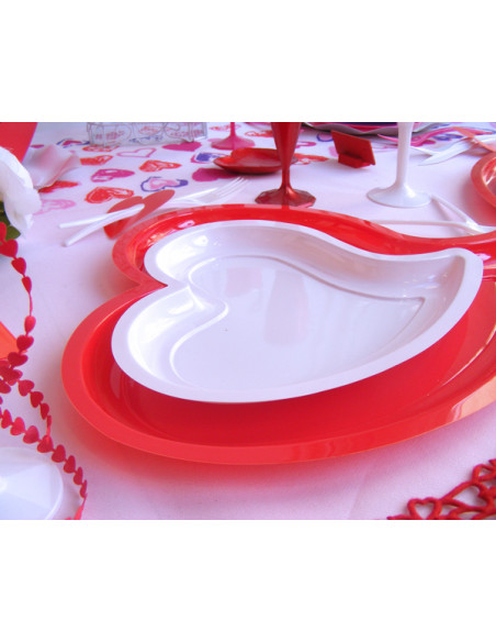 2 Assiette Plastique Coeur Rouge 31cm