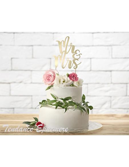1 Topper Gâteau Mr & Mrs Or sur Pic