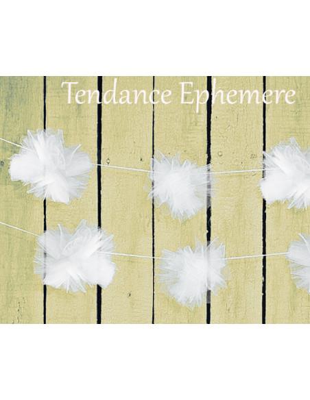 3 Décoration de Voiture Pompon Tulle Blanc 2m