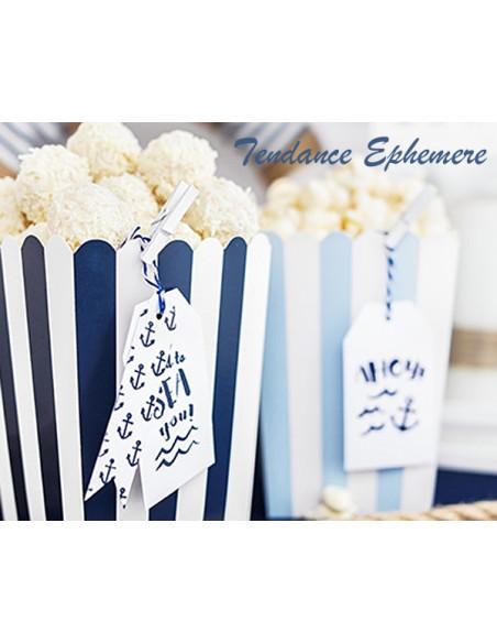 2 Etiquette Mer Blanc et Bleu Marine