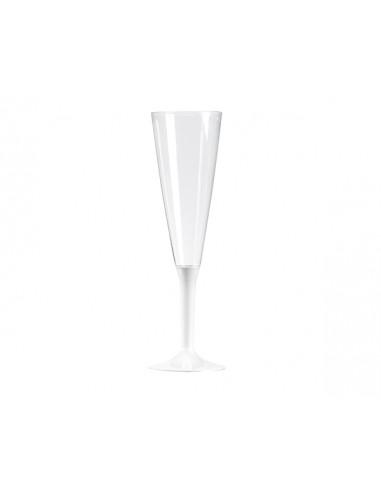 1 Flûte à Champagne Plastique Pied Blanc 13cl