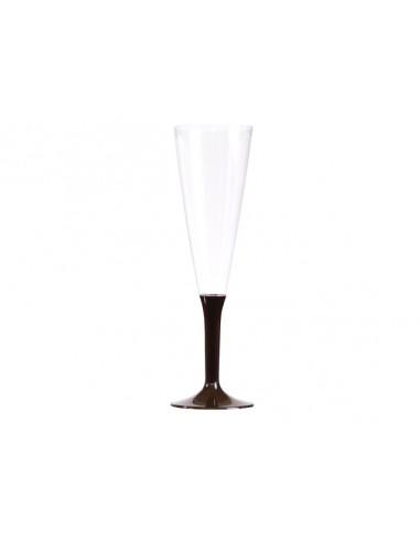 1 Flûte à Champagne Plastique Pied Chocolat 13cl