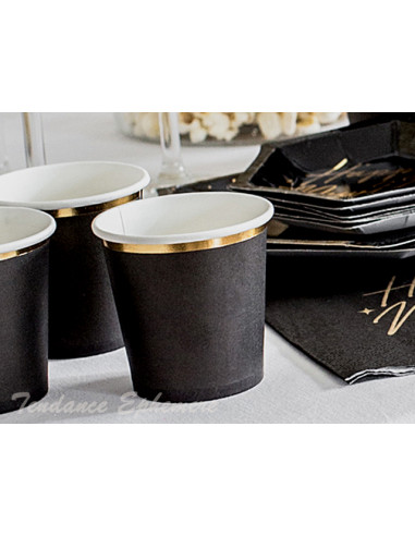 1 Gobelet Café Carton Noir Liseré Or 10cl