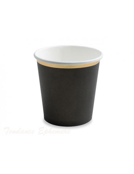 3 Gobelet Café Carton Noir Liseré Or 10cl