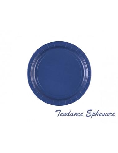 1 Assiette Carton Ronde Bleu Marine 22,8cm