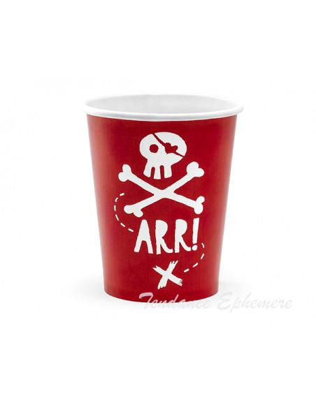 3 Gobelet Carton Pirates Rouge 22cl