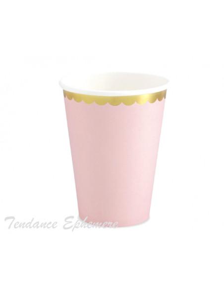 3 Gobelet Carton Rose Pastel Feston Or